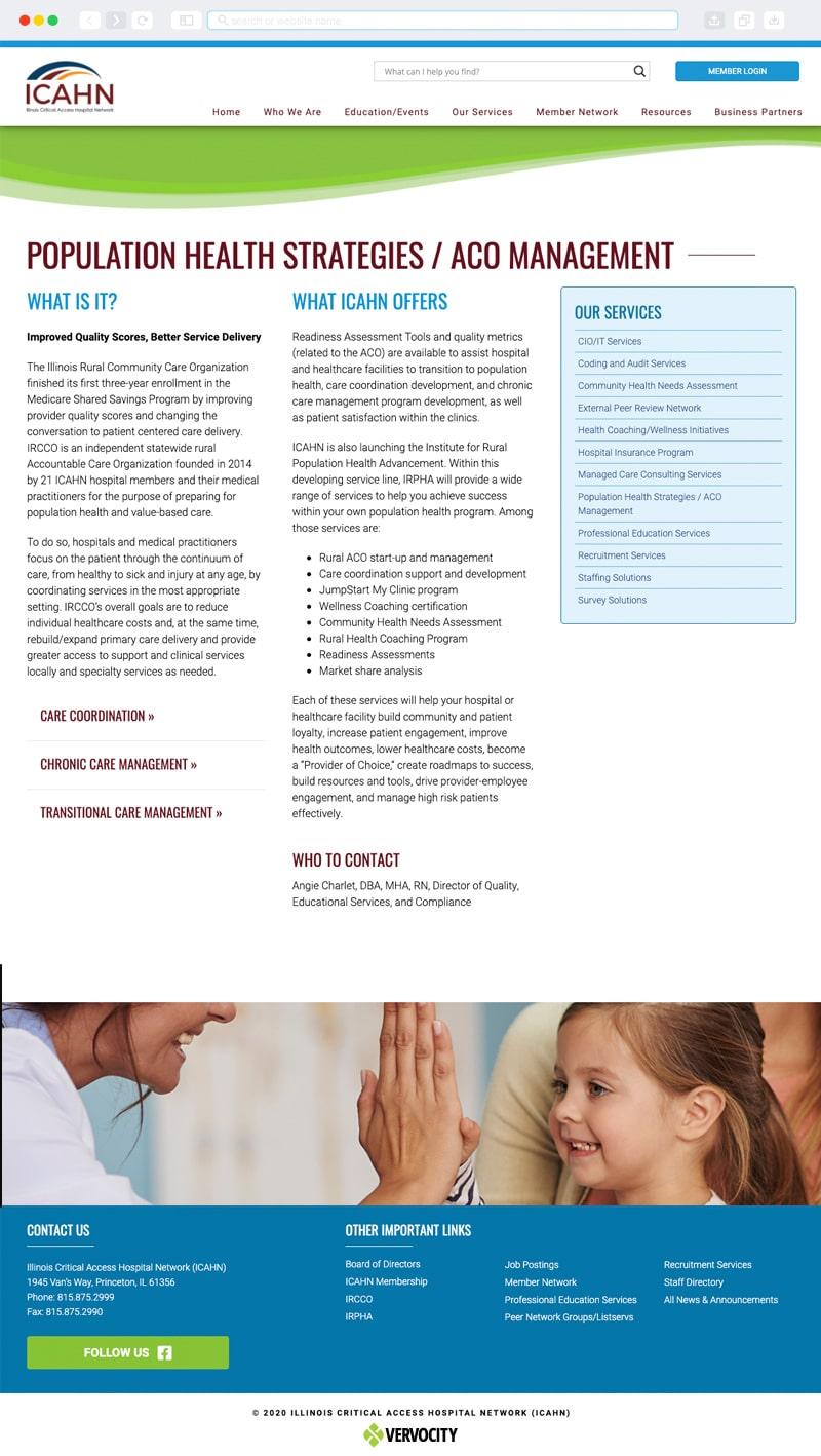 ICAHN (Illinois Critical Access Hospital Network) Interior Page | Vervocity