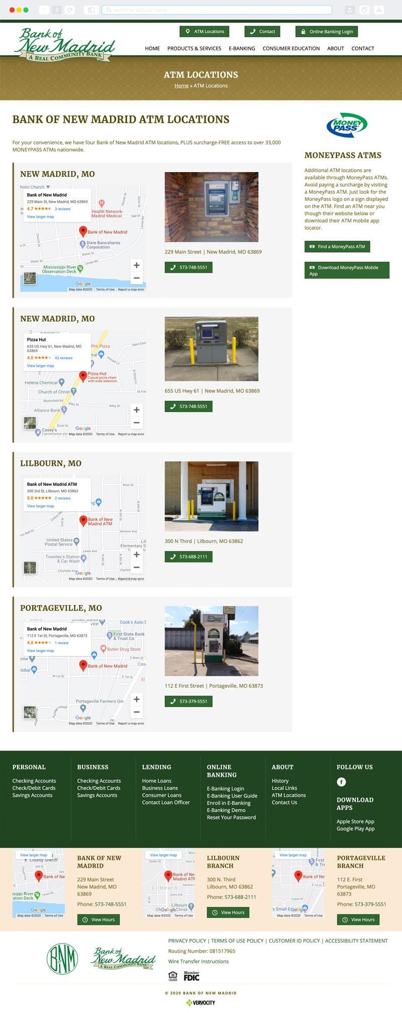 Bank of New Madrid Interior Page | Vervocity