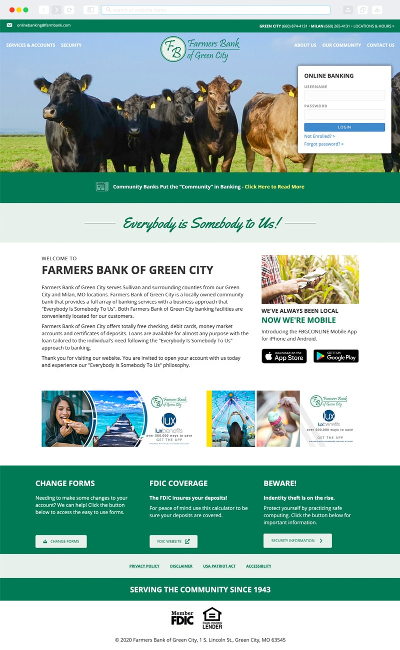 Farmers Bank of Green City Homepage | Vervocity