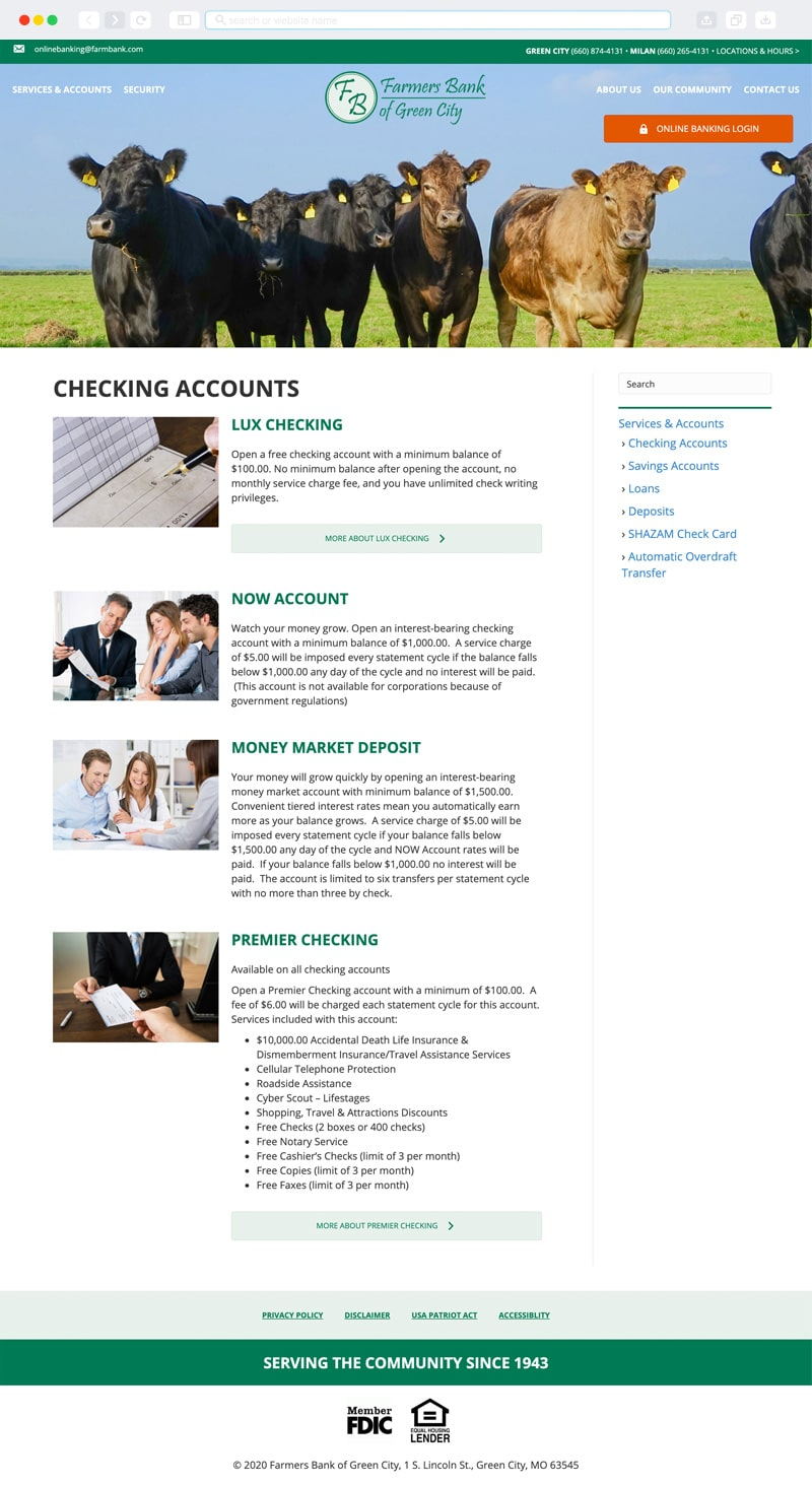 Farmers Bank of Green City Interior Page | Vervocity