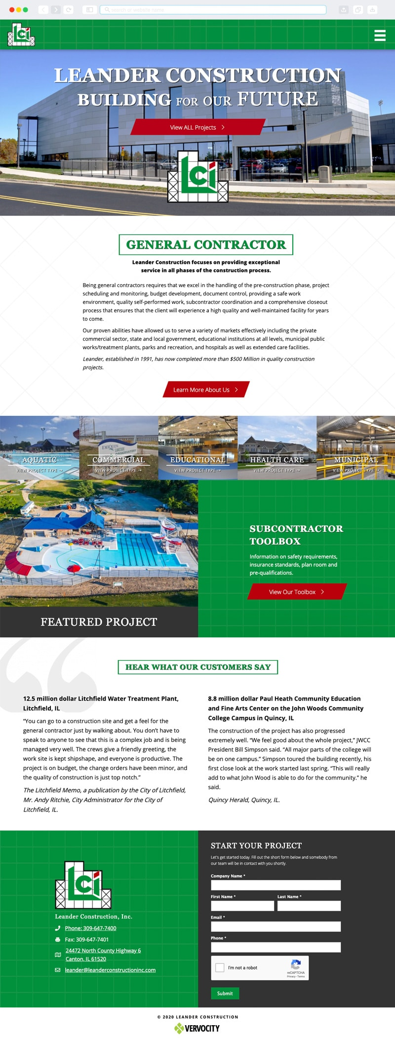 Leander Construction, Inc. Homepage | Vervocity