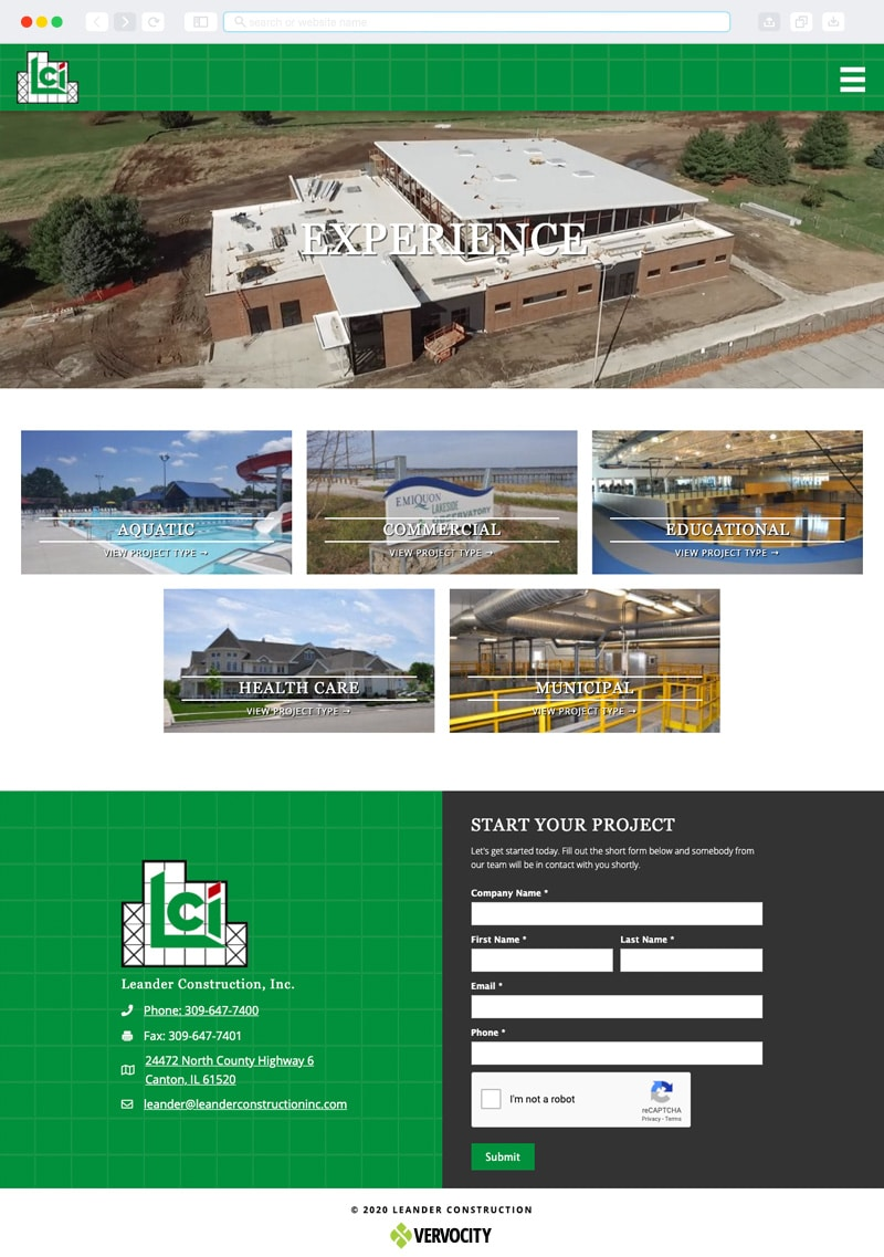 Leander Construction, Inc. Interior Page | Vervocity
