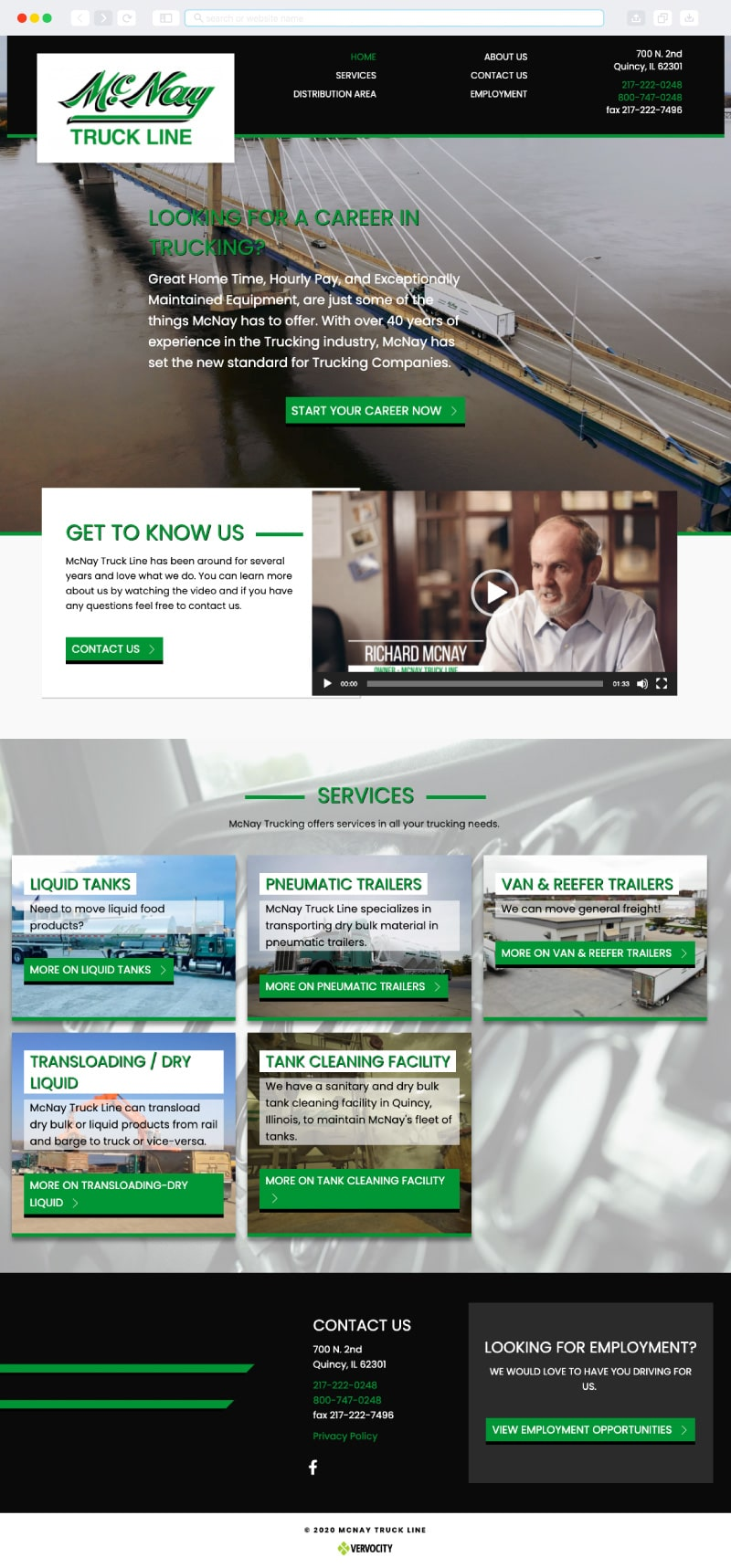 McNay Truck Line Homepage   Vervocity