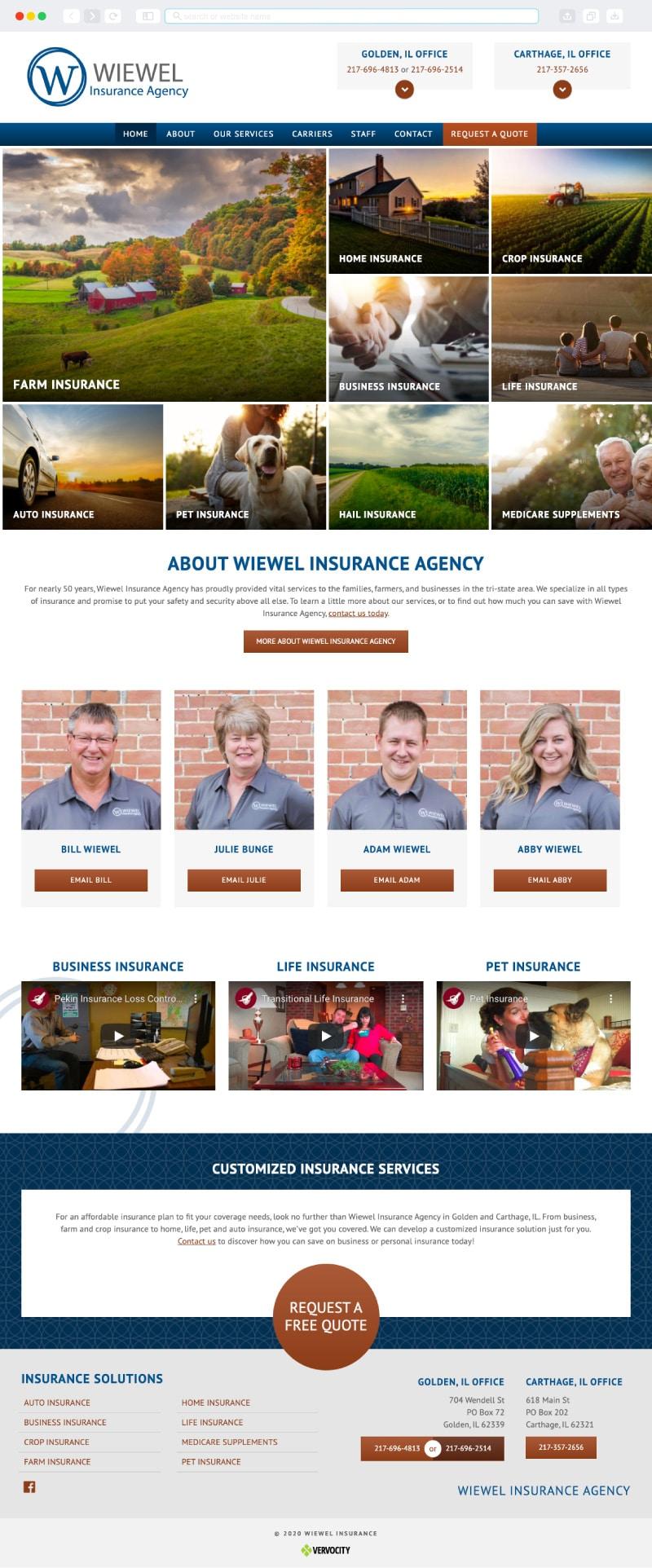 Wiewel Insurance Homepage | Vervocity