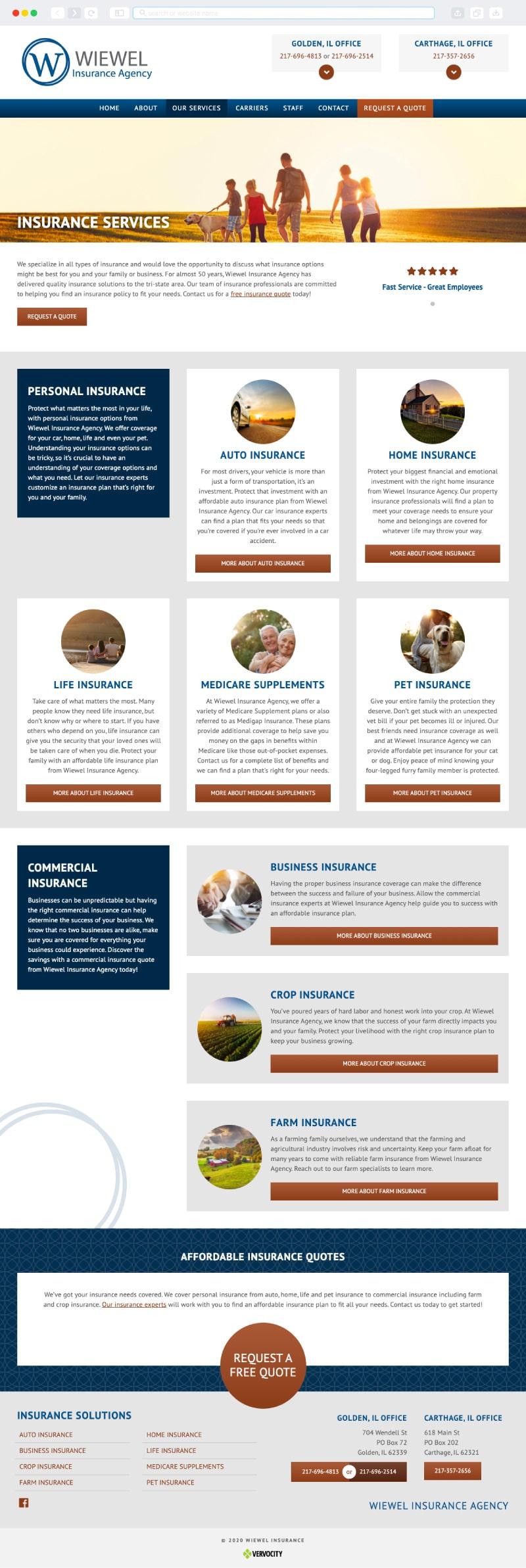 Wiewel Insurance Interior Page | Vervocity