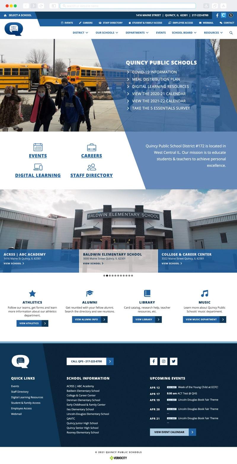 Quincy Public Schools Website Homepage