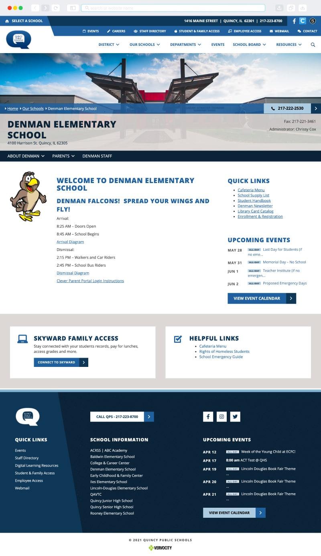 Quincy Public Schools Website Interior Page